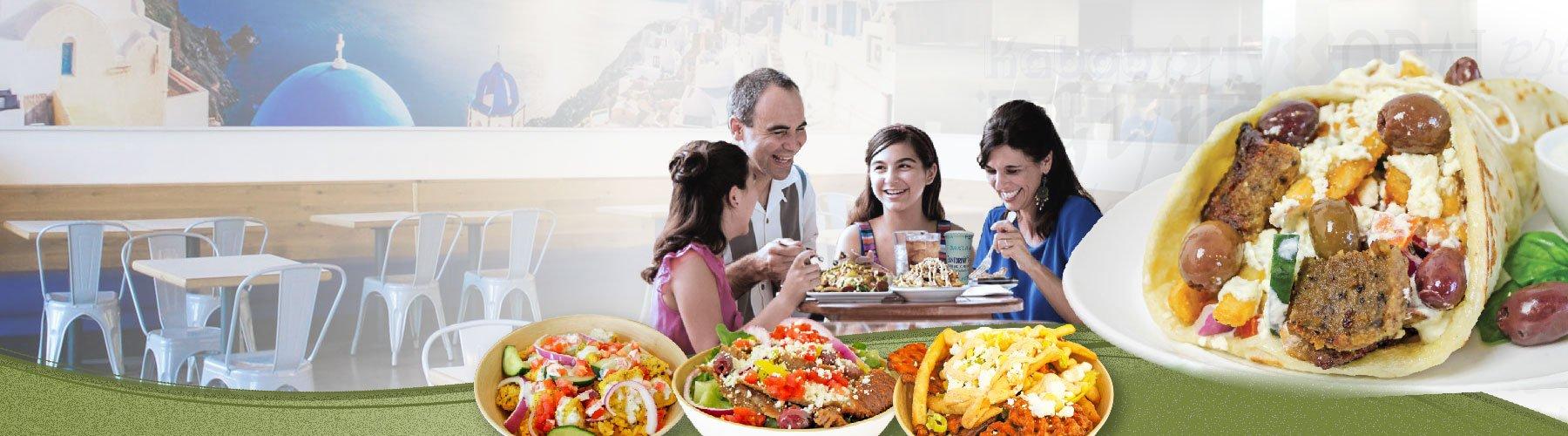 family eating dinner at Santorinis